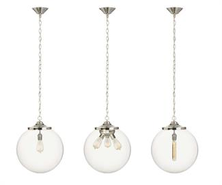 "Popular ""Kilo"" family, available with 1 or 3 light socket on cloth cord or chain."