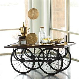 Dress up this functional push cart for a chic summer soirée or utilize it for a unique merchandise display. Ships fully assembled. Wheels are functional. #13437