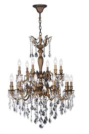 "18 Light Chandelier Antique Brass Dia. 30"" Ht. 39"""