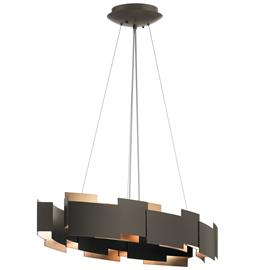 Integrated LED pendants available in Olde Bronze with Natural Brass contrast panels or Satin Nickel Finish.  Available in a round Chandelier/Pendant or Oval Chandelier/Pendant
