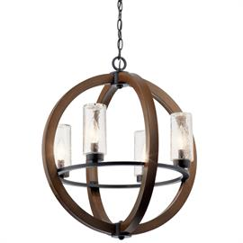 This distinctive outdoor rated chandelier from the popular Grand Bank™ collection creates a bold statement. The rich, Auburn Stained finish and Clear Seedy Glass will accent any outdoor space.