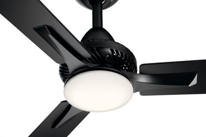 The sleek contemporary 3-blade squared-off style and vent detail of the Kosmus ceiling fan mixes beautifully into a living room, dining room or bedroom area. Designed with an integrated LED light, the Kosmus provides a comfortable, quiet breeze.