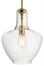The design of this pendant from the Everly collection is based on decorative blown glass containers. This pendant features Clear Seeded glass. Contemporary or traditional, this pendant can be used singularly or in multiples to elevate every room