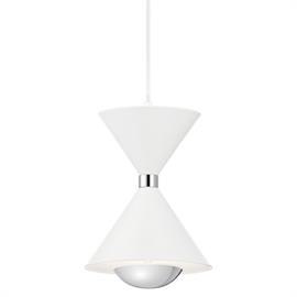 Kordan's finish and one light pendant form are inspired by a cocktail shaker in a sleek Matte White and Chrome finish. Mix it up how you like with wires that can be adjusted during installation: in perfect linear synch, in a pattern or in random heights.