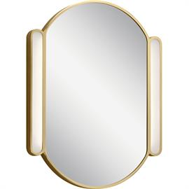 "As oval shapes continue to influence décor trends, the Phaelan™ 30"" Champagne Gold finish Oval Mirror combines several pill shapes in one. Oblong LED lights frame an elliptic mirror, for a style that's simple without feeling plain"