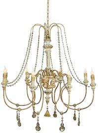 Carved Wood Antique Reproduction Chandelier