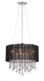 Bring a dramatic focal point to any area of your home with the unique round Beverly Dr. collection convertible ceiling mount's stunning style. Cut and polished crystals are held in place with stainless steel rings and illuminated by brilliant halogen points of light and graced by a beautiful silk string shade.