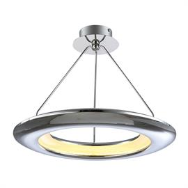"Bring a true outer space expereience to your home with this superb, modern ceiling pendant light from the UFO collection. With a ceiling hanging height of 15"" and diameter of 18"" this pendant would make an ideal lighting source for many rooms. Producing 1200 lumens from the energy saving 35 watt bulb which will also save you money too! The design of the UFO pendant is clean and sleek with an inner ring containing the dimmable opal acrylic diffuser lens and topped off with an expertly finshed polished chro"