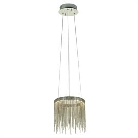 "This perfectly proportioned hanging pendant from the Davenport collection will not disappoint with its verstile styling that is perfect for any room in your house. With a depth of 8"" and 8"" diameter the pendant is complete with 10 foot adjustable hanging cable which the body hangs from. The body is reminiscent of a cascading waterfall which is created by the satin nickel metal chain elements that house the energy saving 12 watt LED bulb which is fully dimmable and provides a totally controllable light sou"