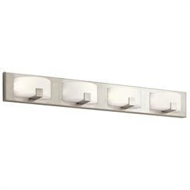 Warm White LED, Brushed Nickel finish with Etched Opal Glass