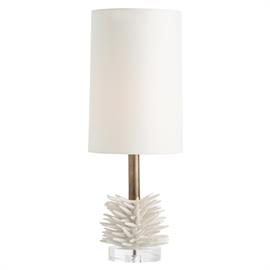 "The Lana lamp features a handmade spiked ceramic sculpture that could have been inspired by a sea creature or plant. Mounting it on the acrylic round base and raising the shade high above it with the antique brass neck, makes this very unique and conversation worthy. The ivory microfiber shade is lined in white microfiber. H: 26"" Dia: 10"" #17998-908"