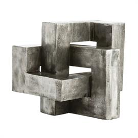 "Create a modern statement with this knot sculpture cast in aluminum then antiqued to highlight all of the surface texture. We love this piece displayed on a surface and at a height that allows it to be viewed from all directions. The large scale makes it a focal point; treat it like a work of art. H: 11"" W: 15"" D: 13.5"" #2852"