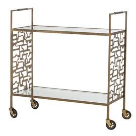 "This two-tier iron bar cart is finished in antique brass and has two clear glass shelves, chocolate leather-wrapped handles and casters for mobility. The bold modern geometric laser-cut pattern on each end panel creates a bit of drama that blends with any interior. Whether you use as a focal serving station or decorative storage piece, the Nicholas Bar Cart is sure to become a favorite piece in your home. H: 34"" W: 33"" D: 14"" #2862"