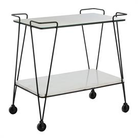 "Inspired by a flea market purchase, the clean modern lines of this design in combination with the blackened iron, antiqued mirror, white marble, and industrial wheels makes this the perfect vintage ""find"" that no one will know is new. Use as the bar it was intended to be, or think outside the box and use in the bathroom to hold towels and bath salts. Marble may vary. H: 33"" W: 33"" D: 19"" #4039"