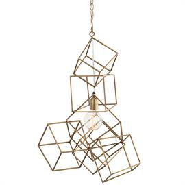 "Everyone loves our Mondrian Sculpture (6088), and now you have an opportunity to hang a similar stacked iron cube design, which we finished in antique brass. We suggest hanging the Noel Pendant over a table, in a hallway or over a staircase. Additional chain available CHN-886. Shown with a Nostalgic thread bulb. H: 29.5"" W: 18"" D: 18"" #42048"