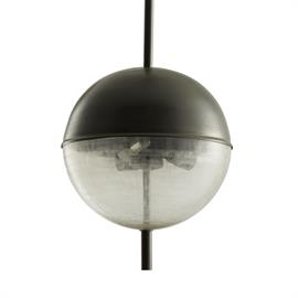 Descending from an iron pipe that goes completely through the globe, the three-light Keira Pendant beautifully marries a natural iron finish with elegant linen-etched glass. Perfect in a pair above a kitchen island or in multiples down a hall. Shown with small clear tubular bulbs. Additional pipe available (PIPE-161). Approved for use in covered outdoor areas. Finish may vary.