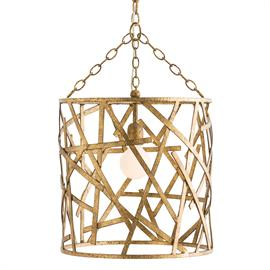 "We put a traditional hand-applied gold leaf finish on this one light modern cage-like pendant, resulting in a transitional piece perfect for all interiors. The iron strap pattern is hand assembled and welded so each pattern may be slightly different. We love it in an entry or hanging over nightstands in a glamorous bedroom. Shown with a 3"" Frosted Globe bulb. Additional chain available CHN-973. H: 15"" Dia: 15"" #42446"