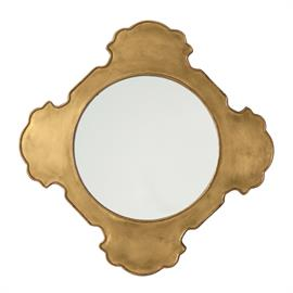 "This wonderful quatrefoil wood frame is clad in antique brass. The brass cladding will continue to age with time providing a lovely contrast to the speckled antiqued mirror. Features a security cleat attachment and can be hung vertically or horizontally. H: 30"" W: 30"" D: 1"" #4376"