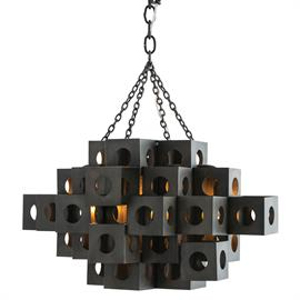 "The term ""brutalism"" was coined in the 1950s when architects were working with concrete and steel, creating blocky building designs. Given that definition, this five-light dark natural iron pendant certainly qualifies. We think it also qualifies as a work of art. Additional chain available CHN-884. Shown with small clear tubular bulbs. H: 25"" #46004"