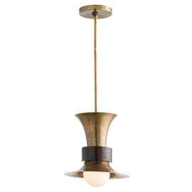 "Elegant and classic, this flared vintage brass single-light pendant is wrapped with a thick bronze band, adding another note of sophistication. The finish combination lends itself to most mid-century designed interiors, although we think it would be perfect just about anywhere. Additional pipe available PIPE-124. Shown with a 4"" frosted globe bulb. H: 18"" - 31.5"""" Dia: 12"" #46732"