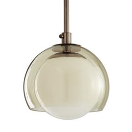 Brown nickel and smoked glass create a the masculine yet refined Kayla Pendant. Its smoke glass shade, enveloping the opal glass globe, makes Kayla perfect for above-bar placement. Additional pipe available (PIPE-103). Also available in antique brass with clear glass (49158). Approved for use in covered outdoor areas.