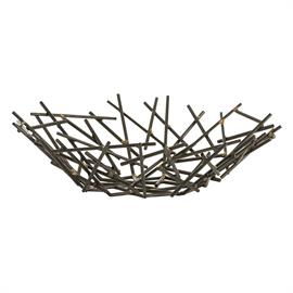 "Slender matchstick-sized pieces of natural iron are fused together with brass welds to create this organic yet industrial centerpiece. Since each is hand-assembled, size will vary. Stands alone as a sculpture or can be filled with simple decorative objects of your choosing. H: 5"" Dia: 18.5"" #6179"