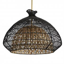 Svelte. Sleek. Sophisticated. This large-scale pendant brings romantic and moody light to a space while showcasing its own curvy and sultry style. It's built with two layers; the interior form is made of naturally finished woven rattan slats on a metal frame and the outer shade is woven with rattan core strips that are finished in black. The top flair has an organic, wavy edge, recalling the look of a pomegranate or vintage dress form.